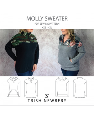2039 molly sweater jumper with quarter zip, yoke and hood