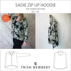 Sadie Zip Up Hoodie Sewing Pattern 2124