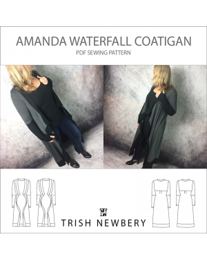 Amanda Waterfall Coatigan PDF Sewing Pattern 1822 Trish Newbery Design Caridgan Coat