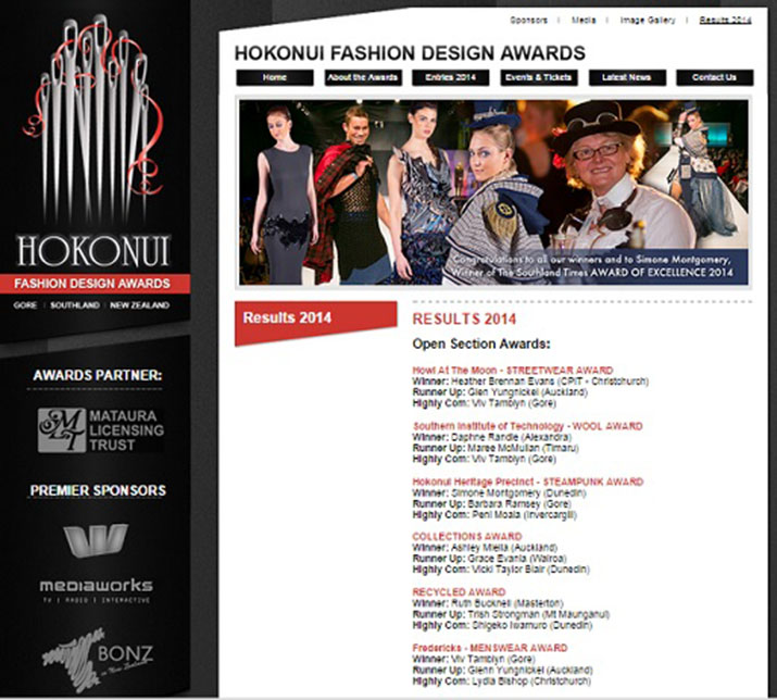 Hokonui Fashion Design Awards 2014 Results Trish Strongman