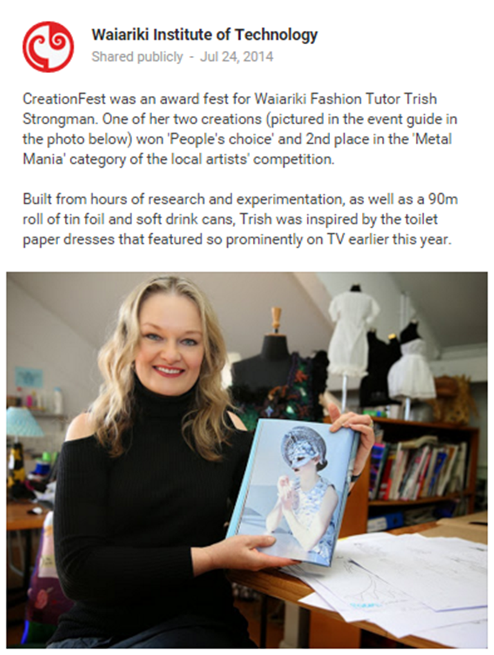Trish Strongman Maori Pasifika Indigenous New Zealand Fashion Designer Tutor Lecturer wins Creationfest Design Awards
